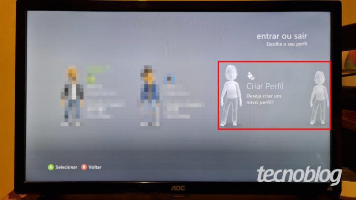 Twela inicial do Xbox 360, com opções para criar e baixar perfil (Imagem: Ronaldo Gogoni/Tecnoblog)