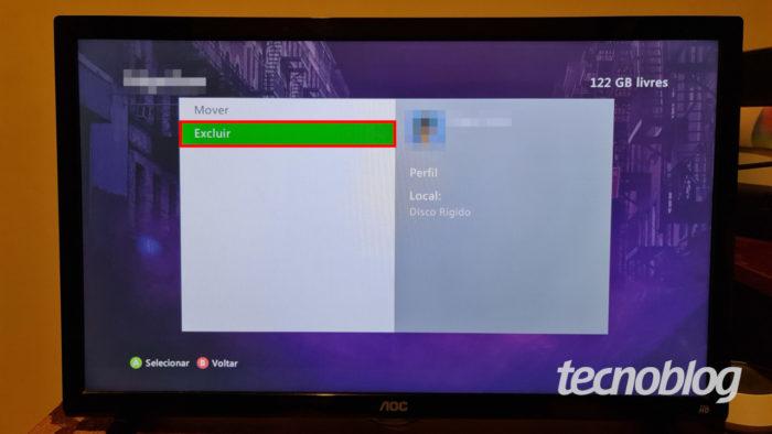 Menu de exclusão de perfil no Xbox 360 (Imagem: Ronaldo Gogoni/Tecnoblog)