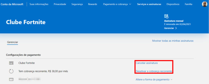 Cancelamento de assinatura no Xbox (Imagem: Reprodução/Microsoft)