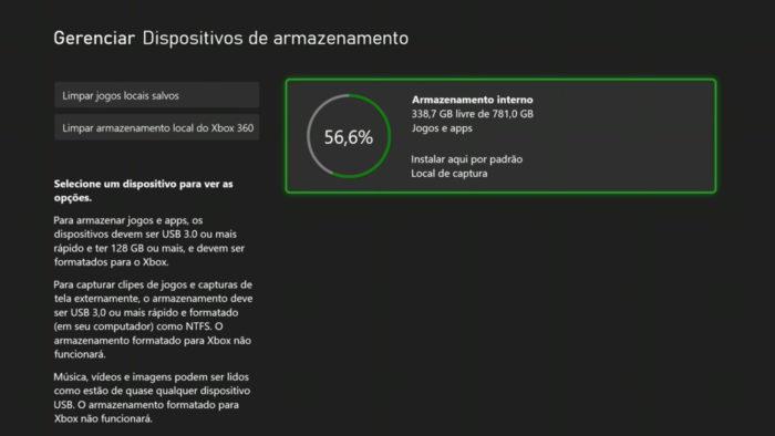 Tela de armazenamento do Xbox One (Imagem: Reprodução/Microsoft) / como liberar espaço no xbox