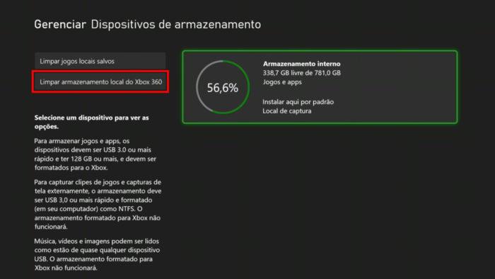 Opção para remover jogos do Xbox 360 (Imagem: Reprodução/Microsoft)