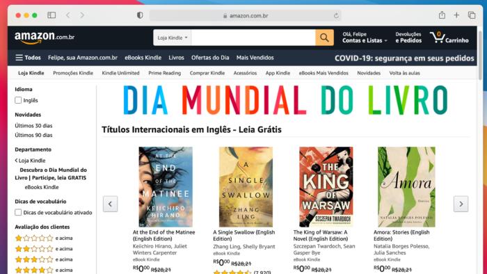 Amazon dá livros para ler no Kindle, PC ou celular (Imagem: Reprodução)