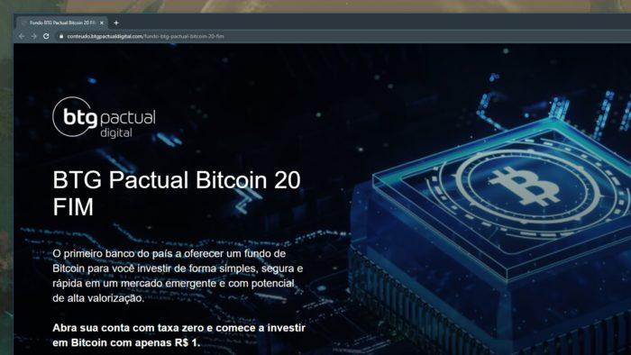 Banco de investimento BTG Pactual lança fundo de bitcoin (Imagem: Reprodução)