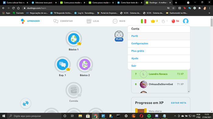 Como colocar foto no perfil do Duolingo (Imagem: Leandro Kovacs/Reprodução)