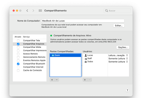 Menu de configuração de compartilhamento de pastas no Mac (Imagem: Lucas Lima/Reprodução)