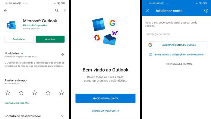 Configurando Gmail para Outlook do Android (Imagem: Leandro Kovacs/Reprodução)