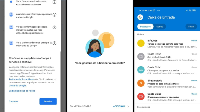 Finalizando a configuração do Outlook do Android (Imagem: Leandro Kovacs/Reprodução)