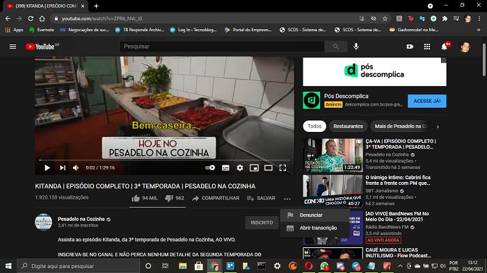Como denunciar um canal no YouTube (Imagem: Leandro Kovacs/Reprodução)