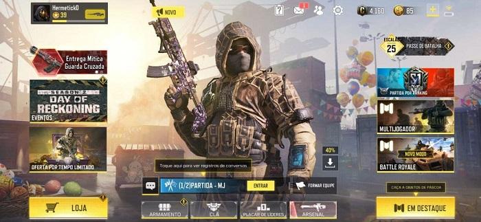 Alterando o nome no Call of Duty: Mobile (Imagem: Leandro Kovacs/Reprodução)