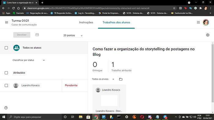 Página de controle de atividades dos alunos (Imagem: Leandro Kovacs/Reprodução)