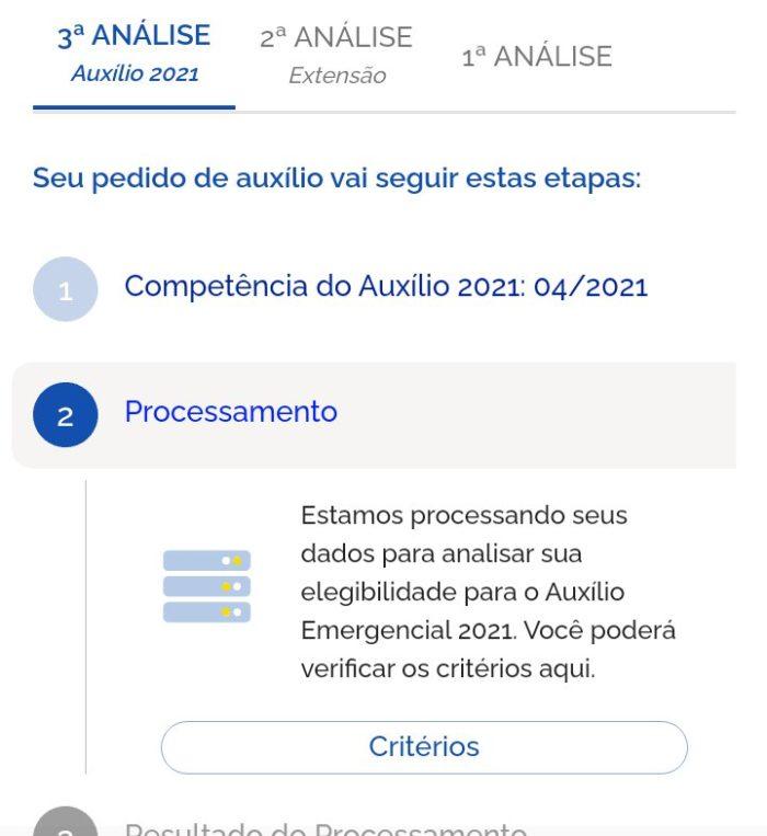 Caixa Tem mostra que auxílio está em processamento (Imagem: @mzjesssie / Twitter)