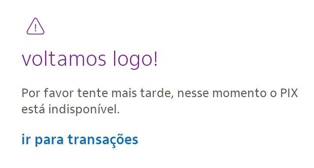 App do Itaú diz que Pix volta em breve (Imagem: Reprodução)