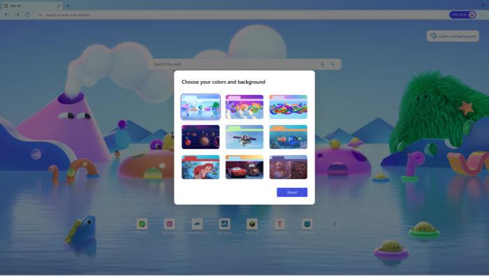 Temas do Modo Infantil do Microsoft Edge (Imagem: Divulgação/Microsoft)