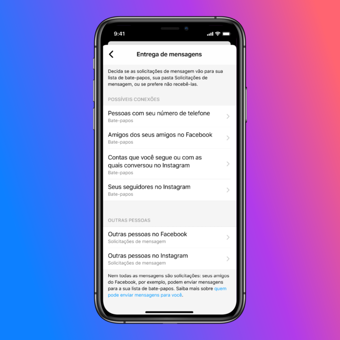 Instagram e Messenger permitem escolher quem pode enviar mensagens para você (Imagem: Divulgação)