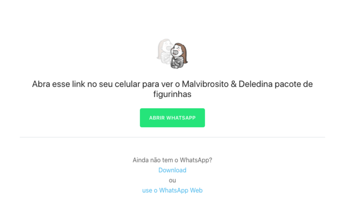 Malvibrosito e Deledina - Como baixar figurinhas do WhatsApp exclusivas de outros países (Imagem: Reprodução / WhatsApp)
