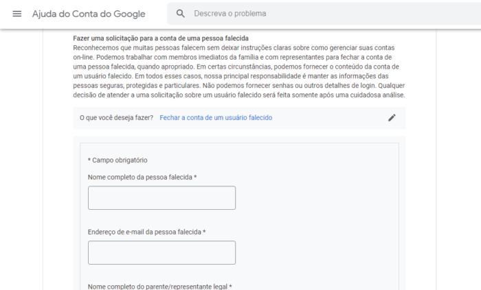 Como encerrar um gmail de alguém que morreu (Imagem: Reprodução/Google)