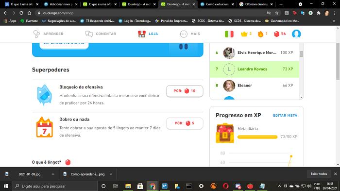 O que é uma ofensiva no Duolingo (Imagem: Leandro Kovacs/Reprodução)