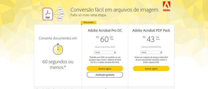 Valores de assinatura do Adobe Acrobat (Imagem: Reprodução / Adobe)