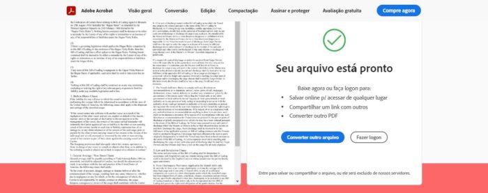 No Acrobat Online, da Adobe, é possível fazer conversões de PDF para JPG e outras extensões (Imagem: Reprodução / Acrobat Online)