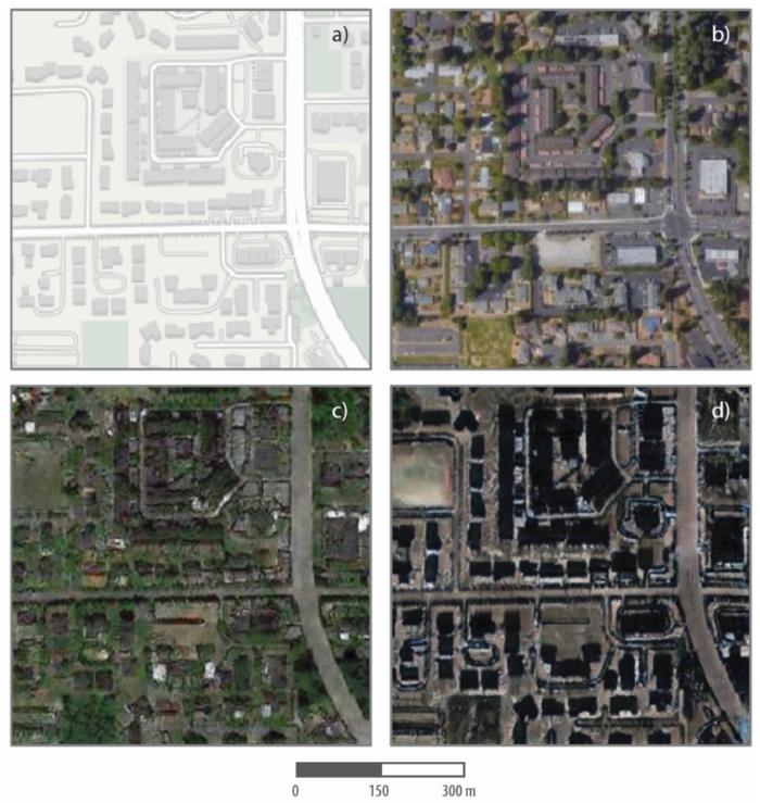 Três dos mapas criados com deepfake de Bo Zhao (Imagem: divulgação/Zhao et al)