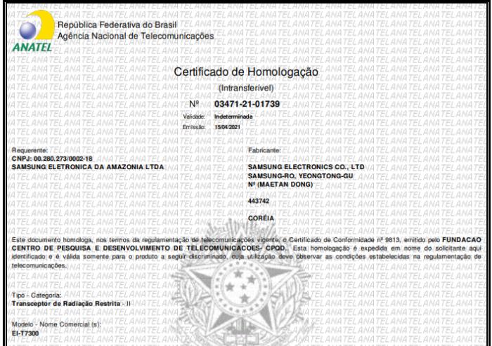 Certificado de homologação do Galaxy SmartTag+