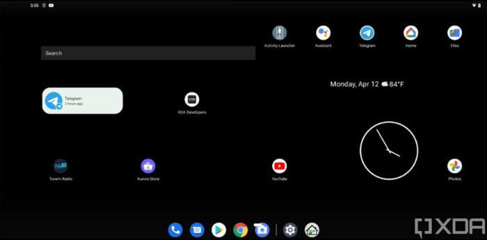Android 12 pode contar com opção para exibir duas telas de inicio, lado a lado, em tablets (Imagem: Reprodução/XDA-Developers)