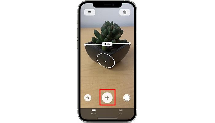 """Processo para medir um objeto no app """"Medida"""" (Imagem: Divulgação/Apple)"""