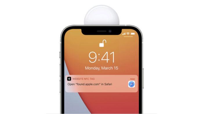 Apple AirTag emite mensagem com informações para entrar em contato com o dono do gadget perdido via NFC (Imagem: Reprodução/Apple)
