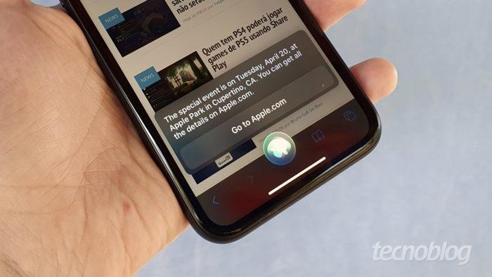 Siri diz que Apple vai realizar evento no próximo dia 20 (Imagem: Bruno Gall De Blasi/Tecnoblog)