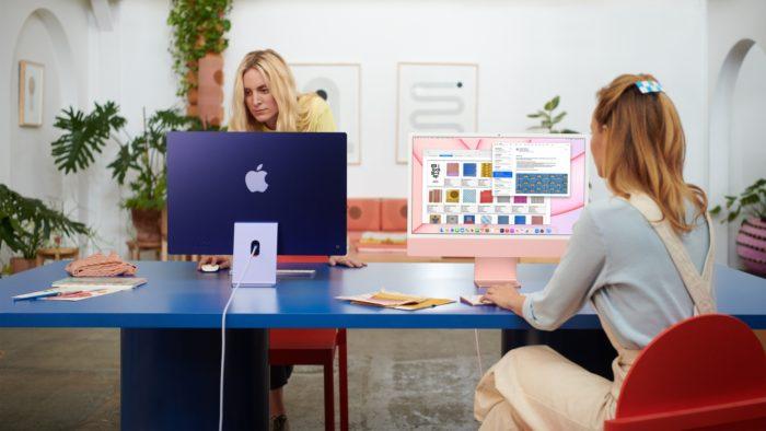 Novos iMacs azul e rosa (imagem: divulgação/Apple)