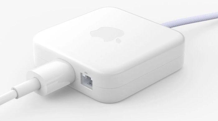 A fonte de alimentação vem com Ethernet (imagem: divulgação/Apple)