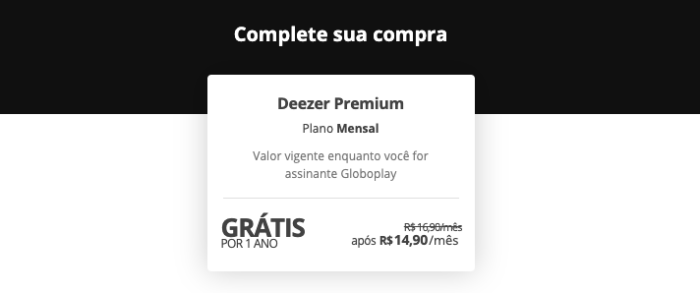 Oferta de 12 meses de graça do Deezer Premium com Globoplay