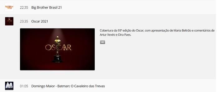 Where to watch Oscar 2021? [TV e internet] / Rede Globo / Reproduction