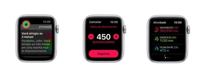 São três categorias diferentes de metas: Movimento, Exercício e Ficar em pé (Imagem: Reprodução / Apple)