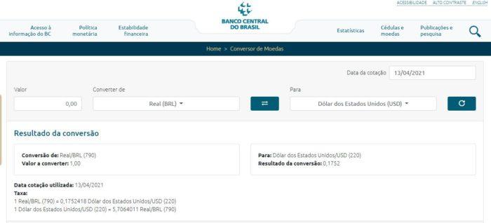 No site do Banco Central você encontra informações oficiais sobre taxas de câmbio (Imagem: Reprodução / Banco Central)