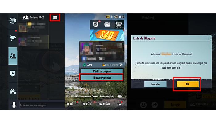 Processo para bloquear jogadores no PUBG Mobile (Imagem: Reprodução/PUBG Mobile)