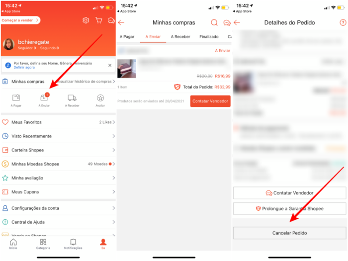 Como cancelar um pedido pelo app da Shopee (Imagem: Reprodução)