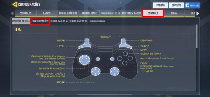 Configurações de controle em Call of Duty: Mobile (Imagem: Reprodução/TiMi Studios/Activision/Garena)