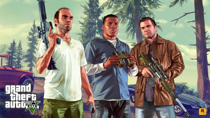 Trevor, Franklin e Michael, protagonistas de GTA 5 (Imagem: Divulgação/Rockstar Games)