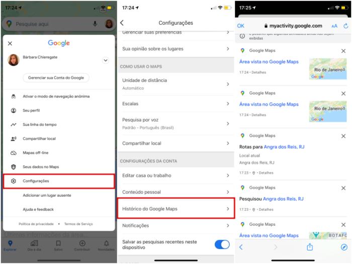 Como limpar o histórico do Google Maps no celular (Imagem: Reprodução/Google)