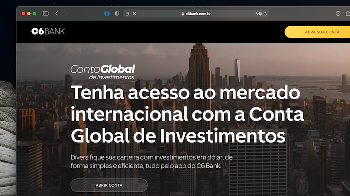 C6 Bank lança conta global de investimentos (Imagem: Reprodução)