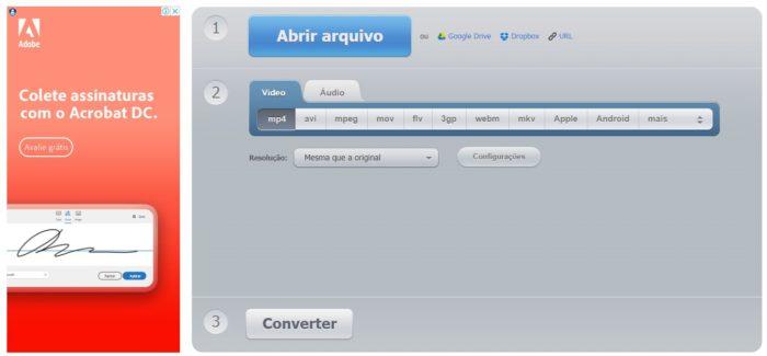 O Convert Video online é um site simples, com interface bem intuitiva e fácil de usar (Imagem: Reprodução / Convert Video)