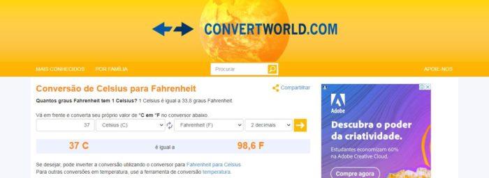 No Convert World, além da conversão rápida, você encontra alguns fatos sobre a escalas utilizadas (Imagem: Reprodução / Convert World)