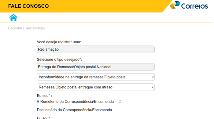 Formulário de reclamação dos Correios sobre entrega atrasada (Imagem: Reprodução/Correios)