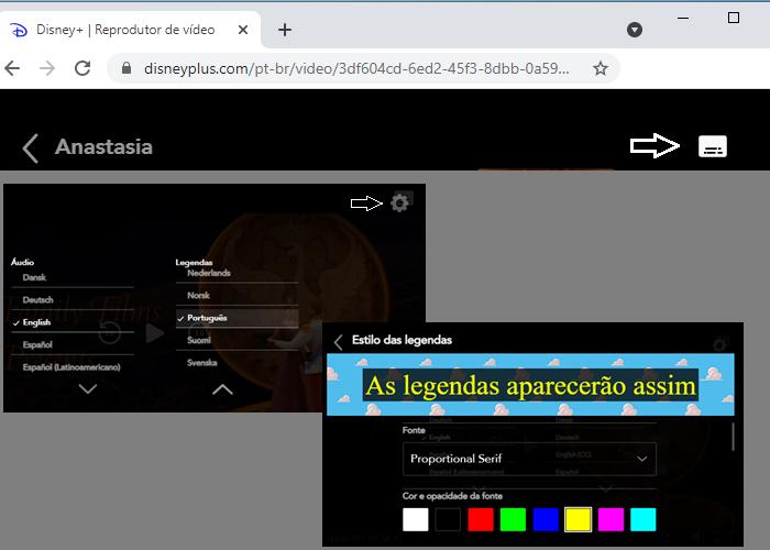 Configuração de legendas do Disney+ no navegador (Imagem: Reprodução/Disney+)