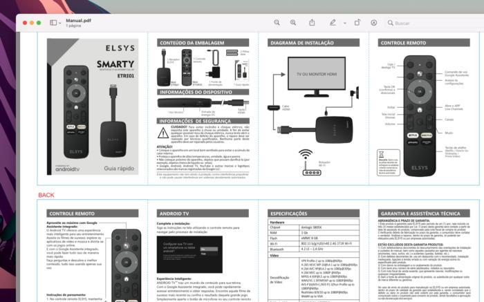 Manual do controle remoto da Elsys para Android TV (Imagem: Reprodução/Tecnoblog)