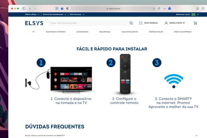 Novo controle remoto da Elsys com botão para DirecTV Go é citado no site da Elsys (Imagem: Reprodução/Tecnoblog)