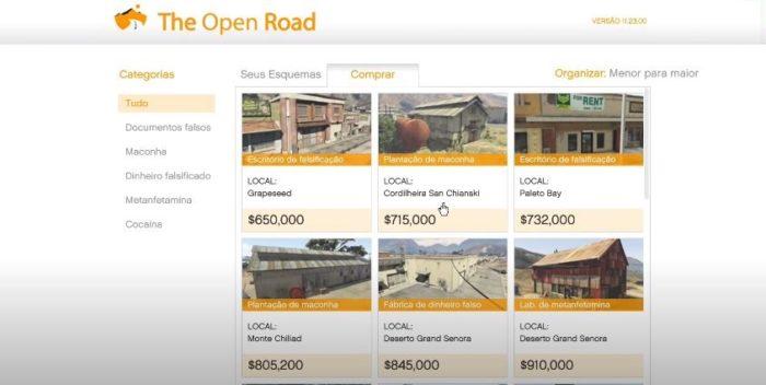 Compre seus esquemas através da rede The Open Road e faça muito dinheiro com a venda de produtos (Imagem: Reprodução / GTA V)