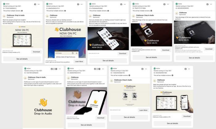 Anúncios no Facebook promoveram app falso do Clubhouse (Imagem: Reprodução/TechCrunch)