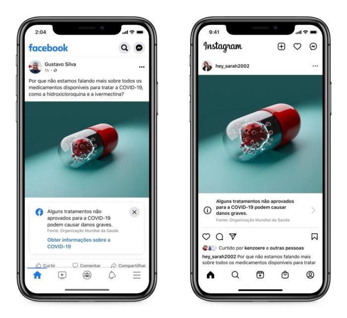 Facebook faz alerta sobre tratamentos sem comprovação contra a COVID-19 (Imagem: Divulgação)